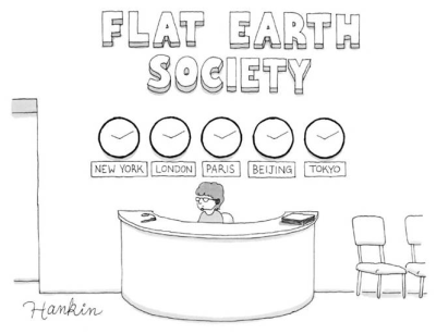 Image result for flat earth cartoon new yorker